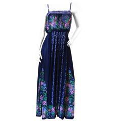1970s Gottex Floral Maxi Dress