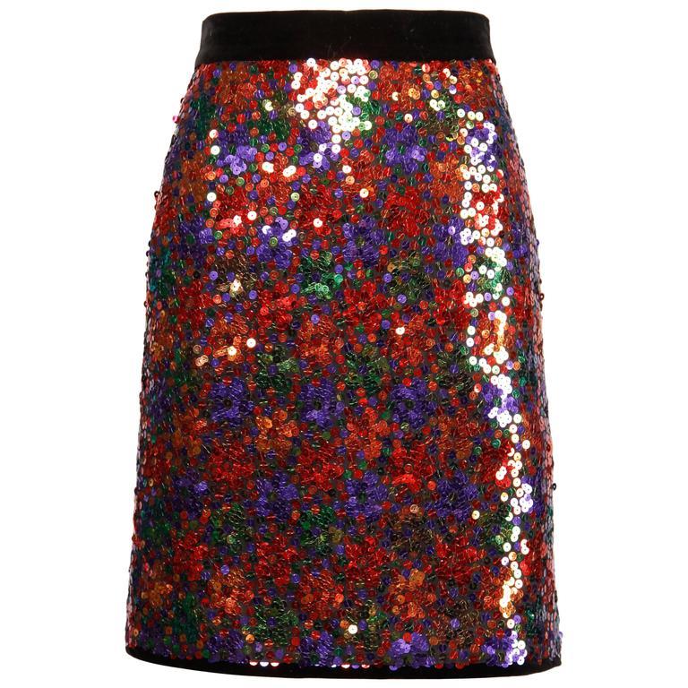Escada Vintage Silk, Velvet + Metallic Sequin Skirt with Bow Detail
