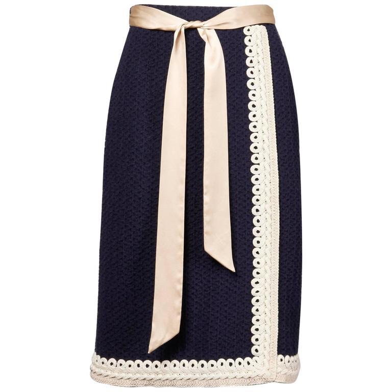 Adolfo Vintage Navy Blue + Ivory Wool Knit Pencil Skirt