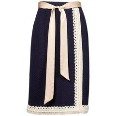 Adolfo Vintage Navy Blue + Ivory Wool Knit Pencil Skirt
