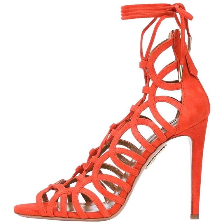 23af0aa317dc Aquazzura New Orange Suede Cut Out Lace Up Gladiator Heels Sandals in Box  For Sale