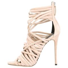 Giuseppe Zanotti New Nude Suede Gladiator Strappy Sandals Heels in Box