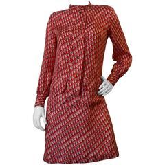 1980s Christian Dior Red Monogram Shift Dress
