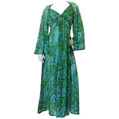 """1970s Robert David Morton"""" Lily of the Valley"""" Sheer Dress with Bell Sleeves"""