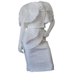 1980s Sculptural  Avant-garde Pleated Highwaist Skirt Set
