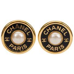 1980s Chanel Oversize Logo Pearl Earrings