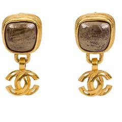 Chanle Hematite Logo Dangle Earrings