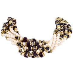 Vintage Multi Strand Pearl Necklace with Hand Clasp and Rhinestones