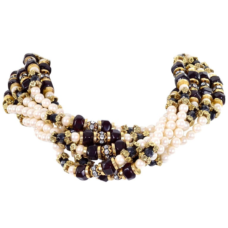 Vintage Multi Strand Pearl Necklace with Hand Clasp and Rhinestones For Sale