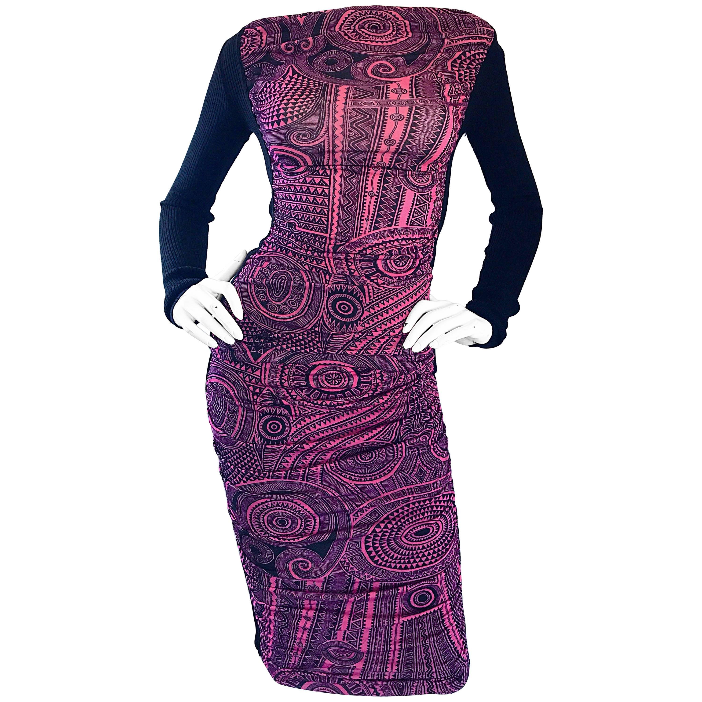 Jean Paul Gaultier Vintage 1990s Pink + Black Aztec Top & Skirt Dress Ensemble
