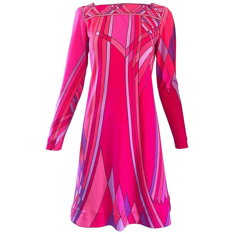 1960s Nat Caplan Couture Hot Pink + Purple Geometric Mosaic A Line Shift Dress For Sale