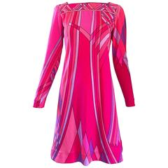 1960s Nat Caplan Couture Hot Pink + Purple Geometric Mosaic A Line Shift Dress
