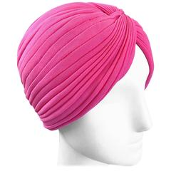 New w/ Tags 1960s Italian One Size Bubblegum Pink Nylon Vintage Turban 60s Hat