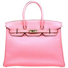 Hermes Birkin 35 Rose Shocking Pink Togo Leather Silver Metal Top Handle Bag