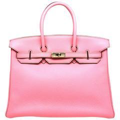 Hermes Birkin 35 Rose Shocking Pink Togo Leather Silver Metal Top Handle Bag