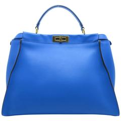 Fendi Peekaboo Blue Calfskin Leather Gold Metal Top Handle Bag