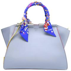 Fendi 3Jours Light Blue Calfskin Leather Top Handle Bag with scarf