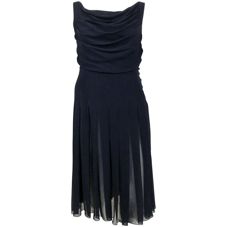 Chanel Midnight Blue Silk Chiffon Draped and Pleated Dress, Circa 2000