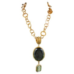 bronze chain with a Murano glass and Wedgwood cameo pendant