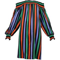 Yves Saint Laurent Stripe Peasant Dress
