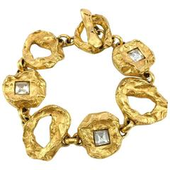 1980s Christian Lacroix Gold-Plated and Crystal Bracelet by Goossens