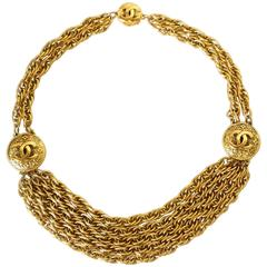 1980s Chanel Gold Logo Choker Necklace
