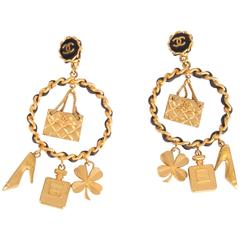 Chanel Iconic Charms Chain Earrings Vintage - gold 1994