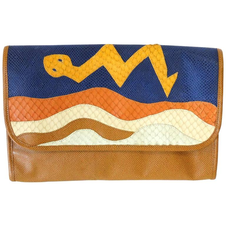 1980s CARLOS FALCHI Leather Snake Clutch  For Sale