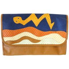 1980s CARLOS FALCHI Leather Snake Clutch