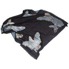 Gucci Feather Scarf - black/blue/silver/gold