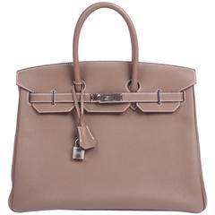 Herms Birkin Bag 35 Togo Étoupe - silvertone hardware
