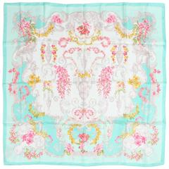 Versace Silk Scarf Flower Print - turquoise/pink/yellow