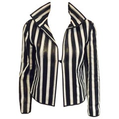 Giorgio Armani Black and White Vertictal Banded Lambskin Jacket