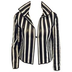 Giorgio Armani Black and White Vertictal Banded Lambskin Jacket