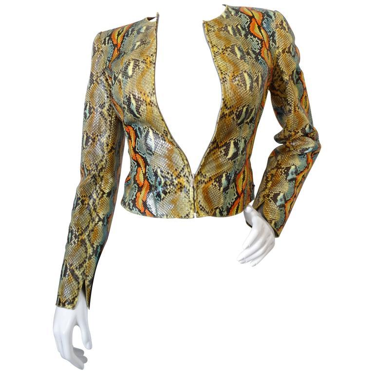 2000s Chanel Python Runway Zip-Up Jacket