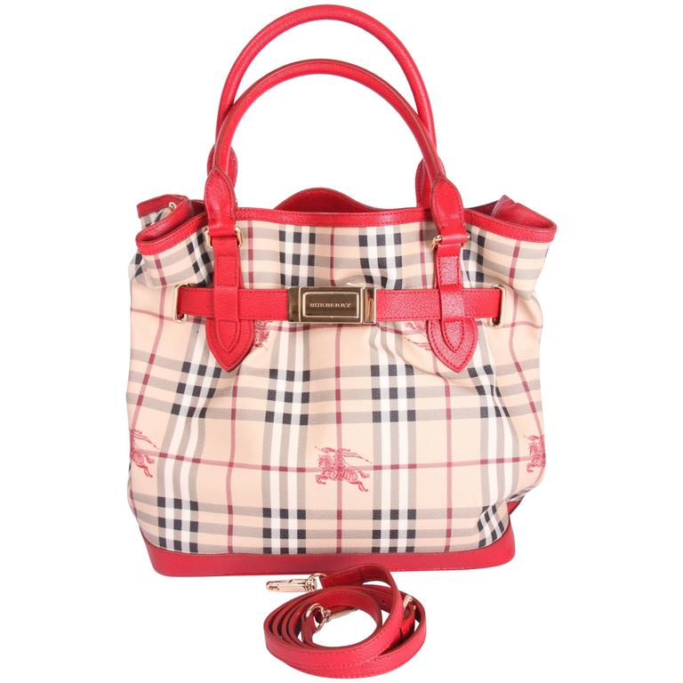 Burberry Checkered Top Handle Bag Red Beige Black White For
