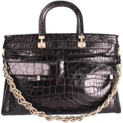 Versace Croco Print Leather Bag - black 2008