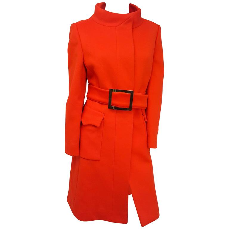 Calvin Klein 1970s Red Orange Coat w/ Belt