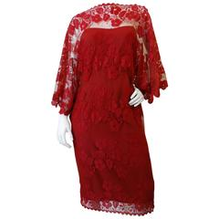 1960s Werle Beverly Hills Red Lace Evening Dress
