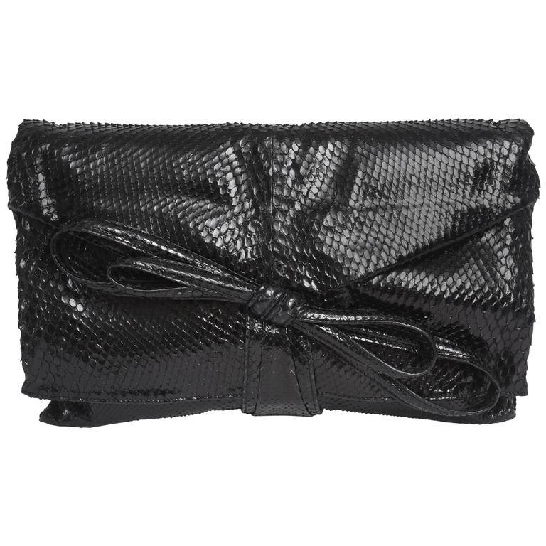 Italian Valentino Black Python Clutch/ Shoulder Bag/ SAT. SALE
