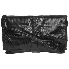 Italian Valentino Black Python Clutch/ Shoulder Bag