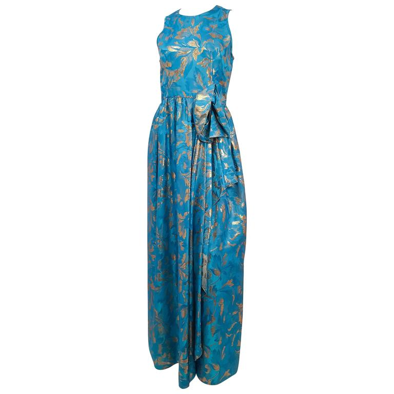 60s Richilene Blue Gown w/ Gold Lamé Threads