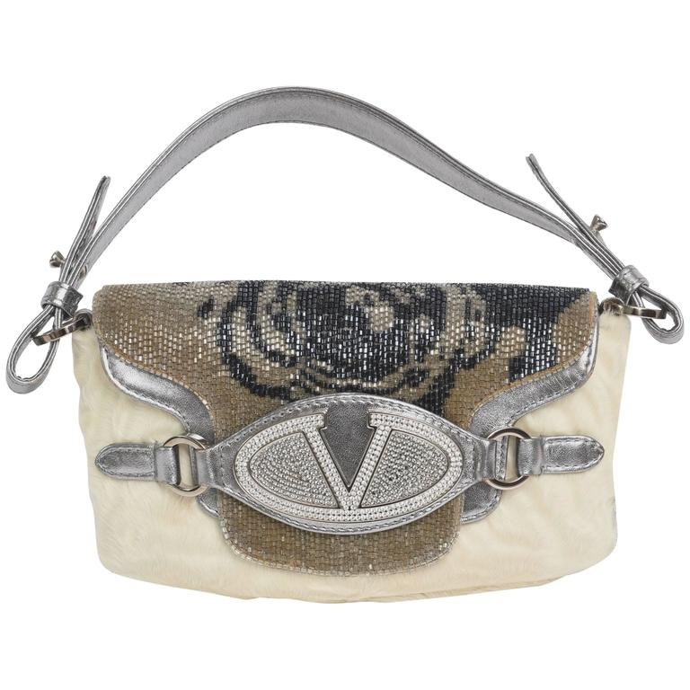 Valentino Runway  Leather Fur Swarovski Crystals Handbag / Clutch / FINALE SALE