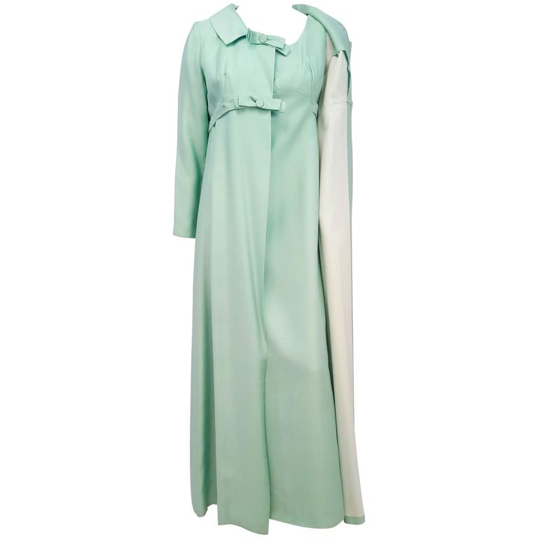 60s Emma Domb Mint Green Dress and Evening Coat Set