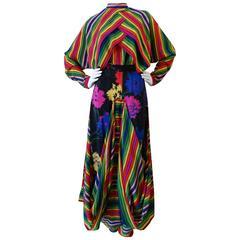 Rare 1980s Fong Leng Rainbow Floral Silk Pant Set