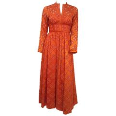 70s Malcolm Starr Orange Cutout Illusion Mesh Dress
