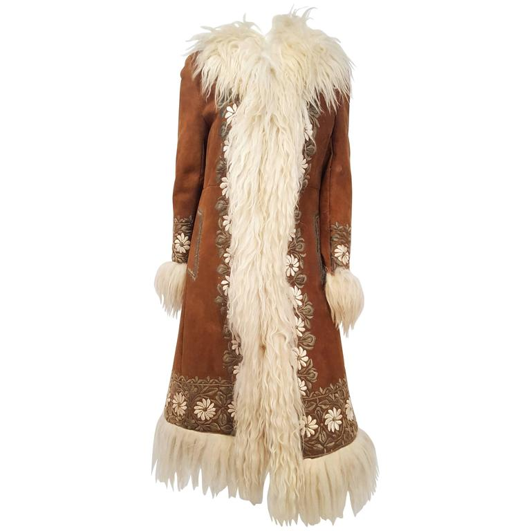 60s Summer of Love Mongolian Sheep Trimmed Suede Embroidered Coat