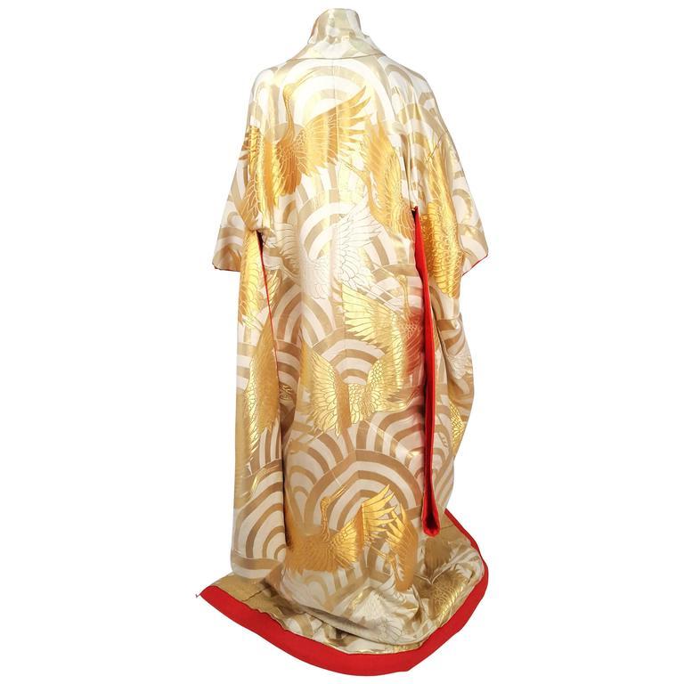 Gold Crane Embroidered Ceremonial Wedding Kimono