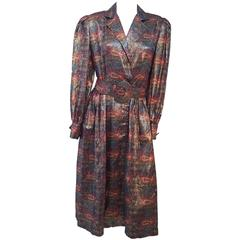 80s Adele Simpson Metallic Paisley Dress