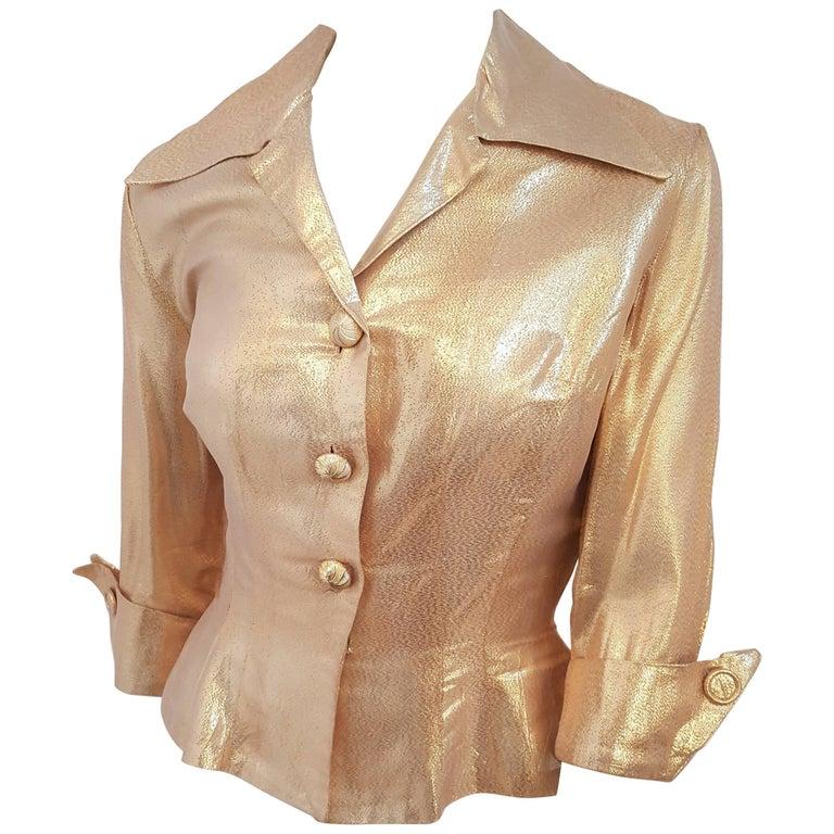 50s Gold Lamé New Look Blouse